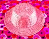 Chapeau de paille rose Photographie stock