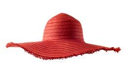 Chapeau de paille rouge d'été du ` s de femme d'isolement Image libre de droits