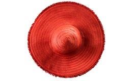 Chapeau de paille rouge d'été du ` s de femme d'isolement Photo libre de droits