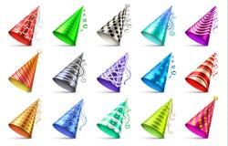 Chapeau de papier de cône avec des éléments de décoration d'anniversaire Ensemble de vecteur d'isolement par chapeaux de partie illustration stock
