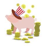 Chapeau de porc dans le chapeau avec le flottement du drapeau américain illustration stock