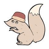 chapeau de port d'écureuil comique de bande dessinée Images stock