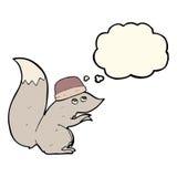 chapeau de port d'écureuil de bande dessinée avec la bulle de pensée Photographie stock libre de droits