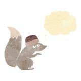 chapeau de port d'écureuil de bande dessinée avec la bulle de pensée Photo libre de droits