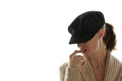 Chapeau de port de femme de mystère Photographie stock