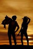 Chapeau de prise de corde de cow-girl de silhouette Photos libres de droits