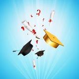Chapeau de professeur et certificat d'obtention du diplôme Images stock