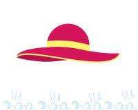 Chapeau de rose de plage de femmes Jeunes adultes Reste sur la mer Image stock