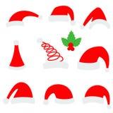 Chapeau de Santa Christmas Chapeau supérieur rouge de Santa d'isolement sur le fond blanc Image libre de droits