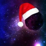 Chapeau de Santa Claus sur la planète dans l'espace illustration de vecteur