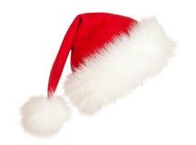 Chapeau de Santa de Noël d'isolement sur le blanc Photo libre de droits