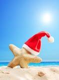 Chapeau de Santa sur une étoile de mer à une plage Photo libre de droits