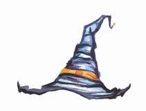 Chapeau de sorcière d'aquarelle Photo stock