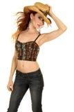 Chapeau de soufflement de prise de cheveux de support de dessus de licou de cow-girl Images stock