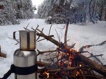 Chapeau de thé et de feu Photographie stock libre de droits