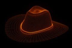chapeau du chapeau 3D dans le style d'hologramme de Wireframe Rendu 3D gentil Photo libre de droits