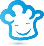 Chapeau du ` s de chef avec le logo du ` s de sourire, de cuisinier et de boulanger illustration libre de droits