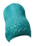 Chapeau du ` s de femmes Chapeau tricoté d'isolement sur le fond blanc émeraude Photo libre de droits