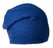 Chapeau du ` s de femmes Chapeau tricoté d'isolement sur le fond blanc h bleu Image libre de droits