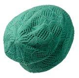 Chapeau du ` s de femmes Chapeau tricoté d'isolement sur le fond blanc ha vert Photo stock