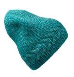 Chapeau du ` s de femmes Chapeau tricoté d'isolement sur le fond blanc turquo Images stock