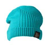 Chapeau du ` s de femmes Chapeau tricoté d'isolement sur le fond blanc turquoi Image libre de droits