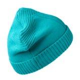 Chapeau du ` s de femmes Chapeau tricoté d'isolement sur le fond blanc turquoi Image stock