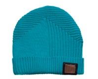 Chapeau du ` s de femmes Chapeau tricoté d'isolement sur le fond blanc turquois Photographie stock