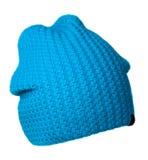 Chapeau du ` s de femmes Chapeau tricoté d'isolement sur le fond blanc turquois Photo libre de droits