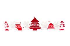 Chapeau en bois d'arbre de Noël de flocons de neige de bonhommes de neige de figurines de Noël Images stock