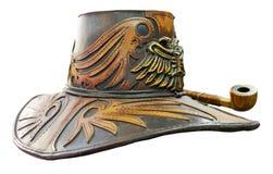 Chapeau en cuir d'imagination images stock