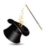 Chapeau et baguette magique magiques avec des étincelles. vecteur Photos libres de droits