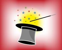 Chapeau et baguette magique magiques avec des étoiles Photo stock