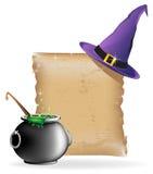 Chapeau et chaudron magiques Photographie stock libre de droits