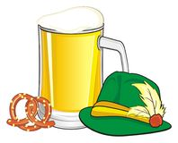 Chapeau et deux symboles de bière Photos stock