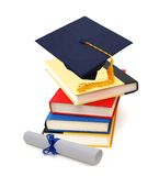 Chapeau et diplôme de diplômé photos stock