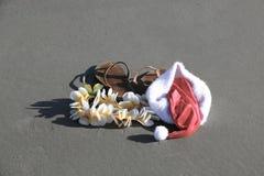 Chapeau et Flip Flops de Santa Images libres de droits