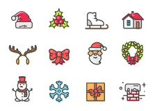 Chapeau et gui, Santa Icons Vector Illustration Photo stock