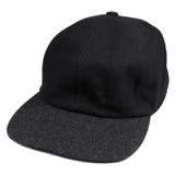 Chapeau fin de style de base-ball de noir de laine avec le bord gris, chapeau chaud d'isolement d'hommes pour l'automne et saison Photos stock