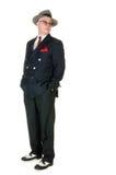 Chapeau flexible de port de rétro homme d'années '50, sur le blanc Image libre de droits
