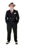 Chapeau flexible de port de rétro homme d'années '50, sur le blanc Photos stock