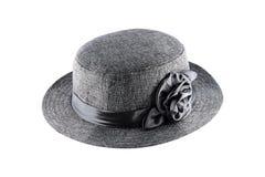 chapeau gris de fibres textiles pour la décoration d'isolement sur le blanc Images libres de droits