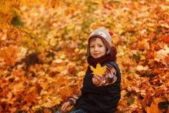 Chapeau infunny mignon de petit garçon et écharpe chaude à l'automne d'or en parc Images stock