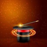 Chapeau magique avec la baguette magique magique Représentation de magicien de vecteur Fond d'exposition de Wizzard illustration libre de droits
