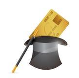 Chapeau magique et conception d'illustration de carte de crédit illustration stock