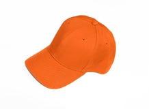 Chapeau orange neuf de casquette de baseball Images stock