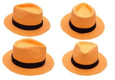 Chapeau orange sur le fond blanc d'isolement Photo stock