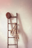 Chapeau plat et écharpe sur l'échelle rustique Image stock