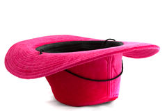 Chapeau rose de velours upside-down Photographie stock libre de droits