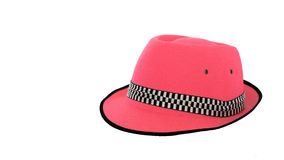 Chapeau rose sur le fond blanc Images stock